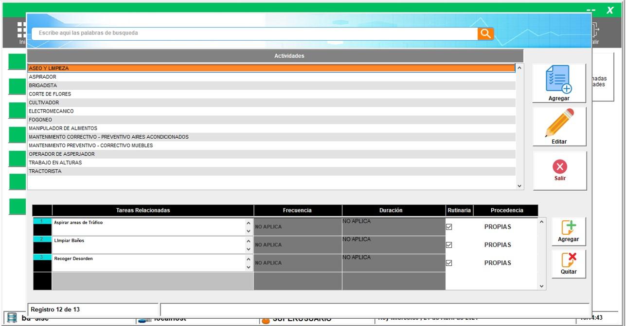Registro de actividades y sus respectivas tareas