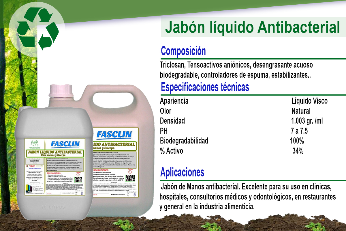 JJabón líquido Antibacterial Para manos y cuerpo FASCLIN
